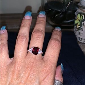 Red stone cocktail style ring